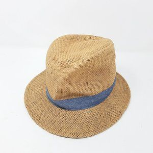Old Navy fedora brown woven hat with blue band
